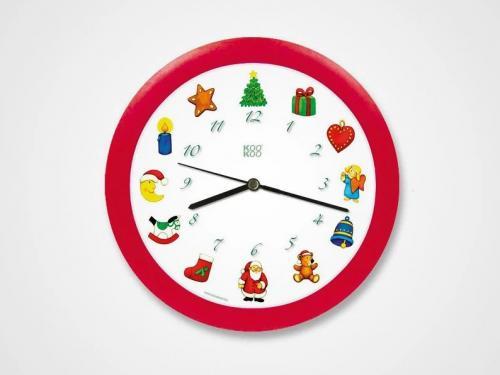 KooKoo Wanduhr - Stille Nacht Weihnachtsuhr - 21cm, rot