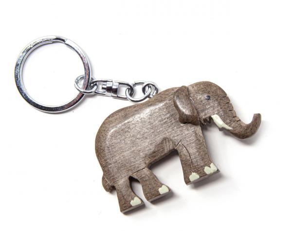 12,5cm Elefanten Schlüsselanhänger Holz AsienLifeStyle China Glücksbringer