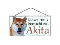 Holzschild - Dieses Haus bewacht ein Akita - 25 x 12,5 cm