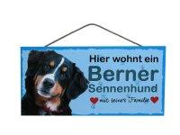 Holzschild - Hier wohnt ein Berner Sennenhund - 25 x 12,5 cm