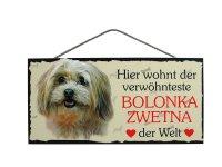 Holzschild - Hier wohnt der verwöhnteste Bolonka...