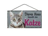 Holzschild - Dieses Haus bewacht eine Katze - Grau - 25 x...