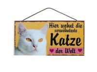 Holzschild - Hier wohnt die verwöhnteste Katze der...