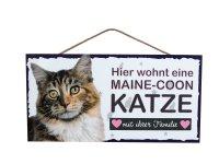 Holzschild - Hier wohnt eine Maine-Coon Katze - 25 x 12,5 cm