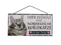 Holzschild - Hier wohnt eine Norwegische Waldkatze - 25 x...