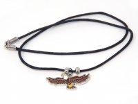 Wachskordelhalskette - Adler aus Metall