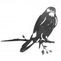 Baumstecker Glücksvogel - Habicht - Edelrost - 25 cm