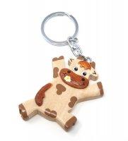 Schlüsselanhänger aus Holz - Lustige Kuh