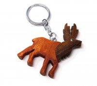 Schlüsselanhänger aus Holz - Rothirsch