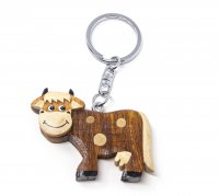 Schlüsselanhänger aus Holz - Kuh