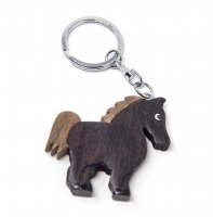 Schlüsselanhänger aus Holz - Pferd schwarz