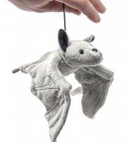 Kuscheltier - graue Fledermaus mit Band - 36 cm