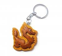 Schlüsselanhänger aus Holz - Chinesischer Drache