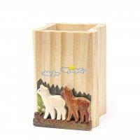 Stiftehalter aus Holz - Alpakas