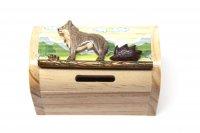 Schatztruhe aus Holz - Wolf