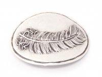 Gürtelschnalle - Silberne Feder Schild