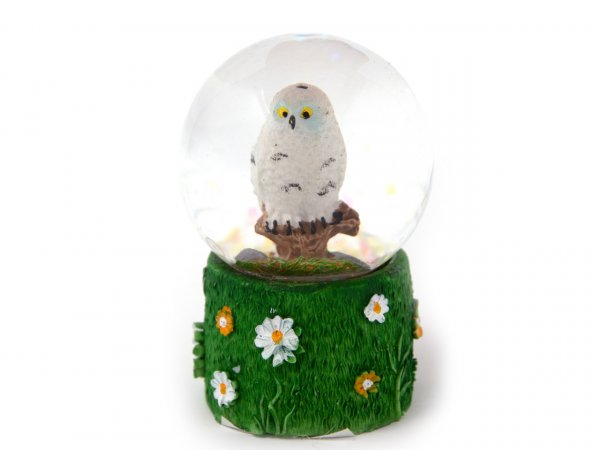 Schneekugel Poly Mini - Schnee-Eule - Wiese