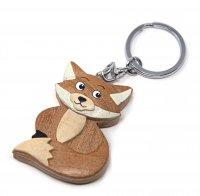 Schlüsselanhänger aus Holz - Fuchs sitzend