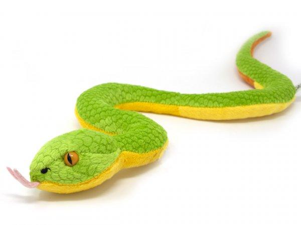 Kuscheltier - Grubenotter, Schlange (grün gelb) - 44 cm