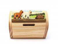 Schatztruhe aus Holz - Alpakas