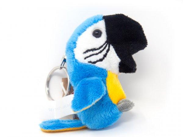 Plüsch Schlüsselanhänger - blauer Ara Papagei
