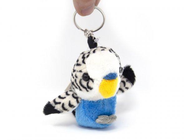 Plüsch Schlüsselanhänger - blauer Wellensittich