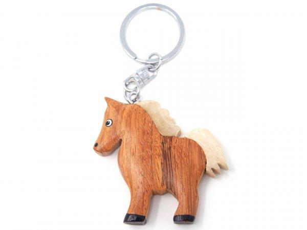 Schlüsselanhänger aus Holz - Pferd braun