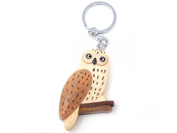 Schlüsselanhänger aus Holz - Schnee-Eule