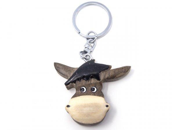 Schlüsselanhänger aus Holz - Eselkopf