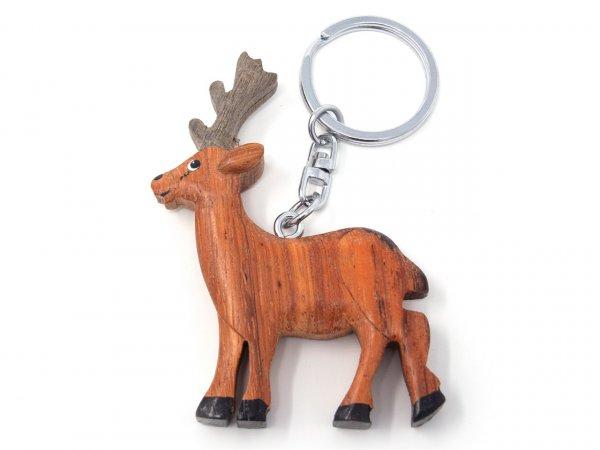 Schlüsselanhänger aus Holz - Rehbock
