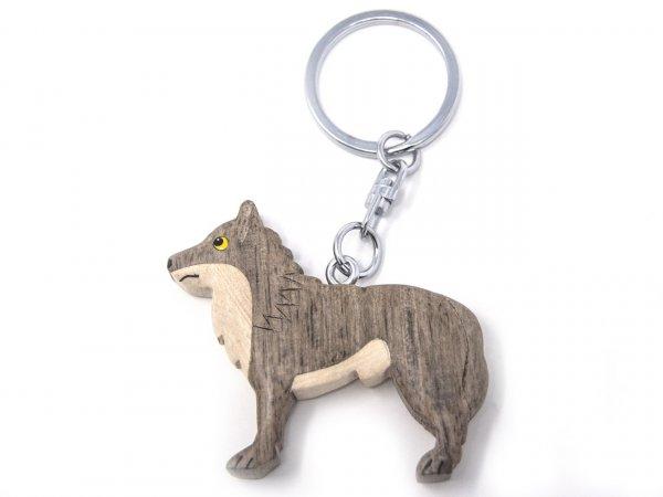 Schlüsselanhänger aus Holz - Wolf