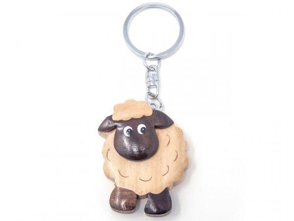 Schlüsselanhänger aus Holz - schwarzes Schaf