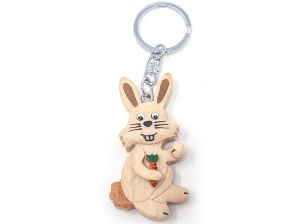 Schlüsselanhänger aus Holz - weißer Hase