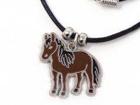 Wachskordelhalskette - Pferd aus Metall