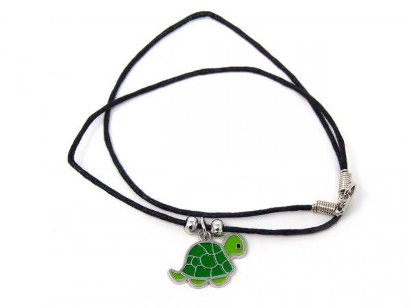 Wachskordelhalskette - Schildkröte aus Metall