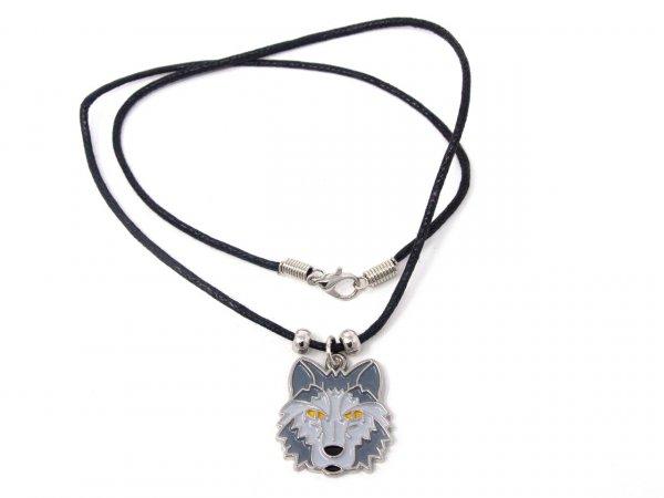 Wachskordelhalskette - Wolfskopf aus Metall