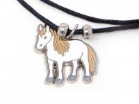 Wachskordelhalskette - weißes Pferd aus Metall