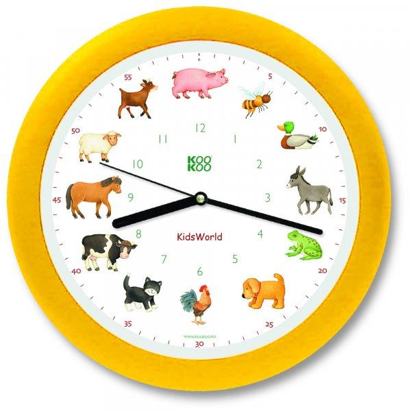 KidsWorld Wanduhr - Tiere vom Land mit Silent Move Quarzwerk - 34cm, gelb