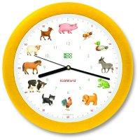 KidsWorld Wanduhr - Tiere vom Land mit Silent Move...