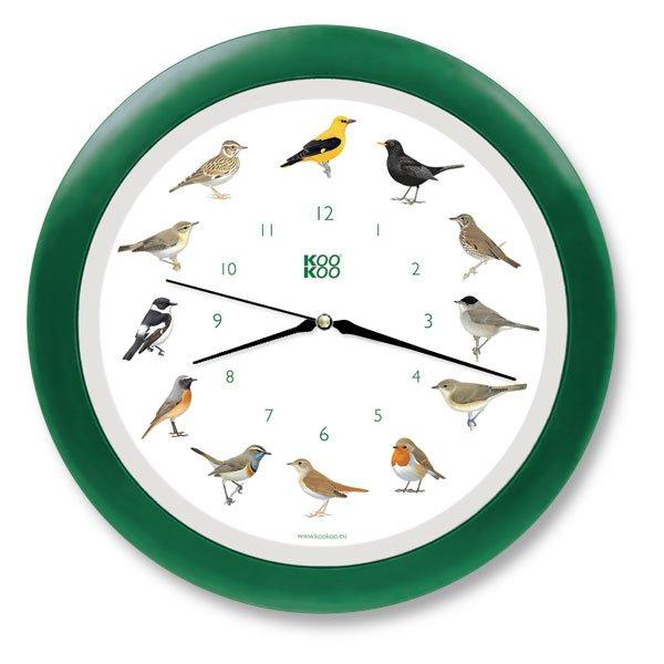 KooKoo Wanduhr - Singvögel mit Quarzwerk - 34cm, grün