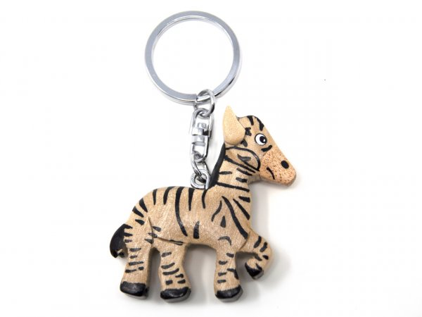 Schlüsselanhänger aus Holz - Zebra