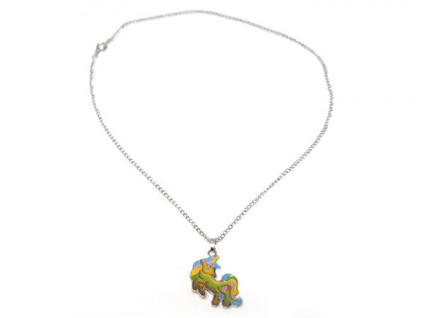 Stimmungskette mit Metallkette - Einhorn Rainbow Schweif