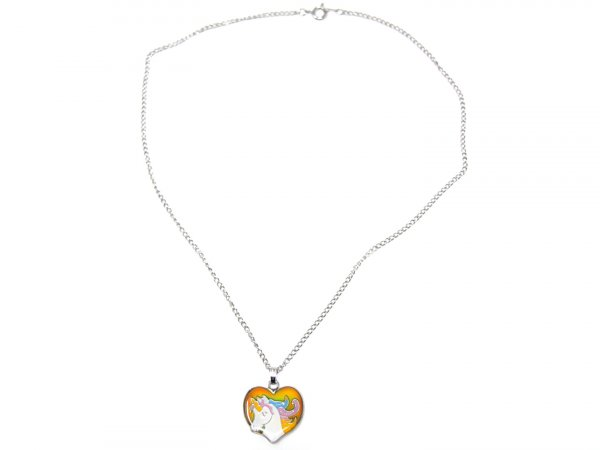 Stimmungskette mit Metallkette - Einhorn Herz