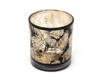 Cor Mulder - Teelichtglas Federn - gold/schwarz - 8 cm