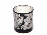 Cor Mulder - Teelichtglas Federn - silber/schwarz - 8 cm