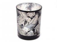 Cor Mulder - Teelichtglas Federn - silber/schwarz - 12,5 cm