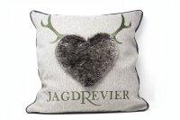 Steen Design Kissen - Jagdrevier Schriftzug Jersey Silber...